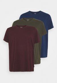 Burton Menswear London - SHORT SLEEVE CREW 3 PACK - T-shirt basic - indigo/burgundy - 5