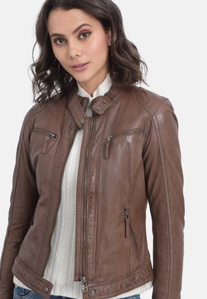 HOLA - Leather jacket - camel