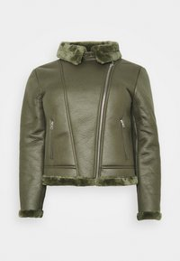Missguided Plus - PLUS ENTRY FAUX LEATHER AVIATOR - Winter jacket - khaki - 4