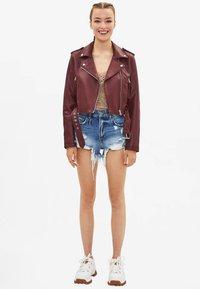 Bershka - Faux leather jacket - bordeaux - 1