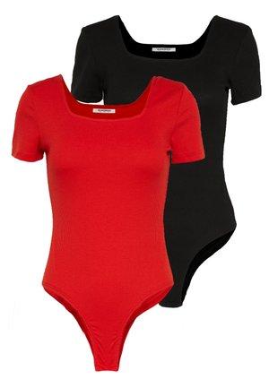 2 PACK SQUARE NECK BODY  - Jednoduché triko - black / red