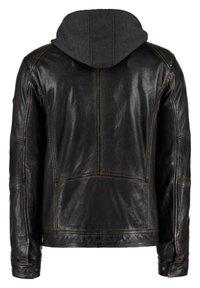 DNR Jackets - MIT KAPUZE UND ÄRMELBüNDCHEN - Leather jacket - black - 1
