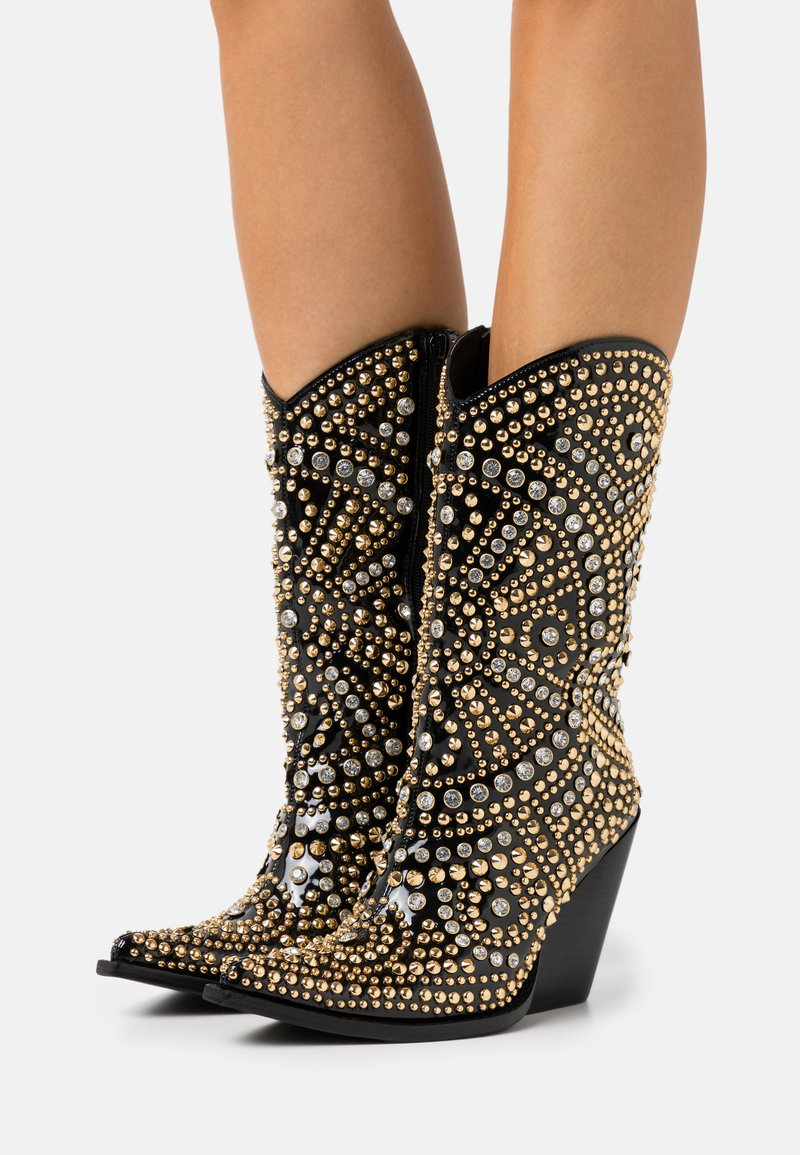 Jeffrey Campbell - STUDLEY - High heeled ankle boots - black/gold