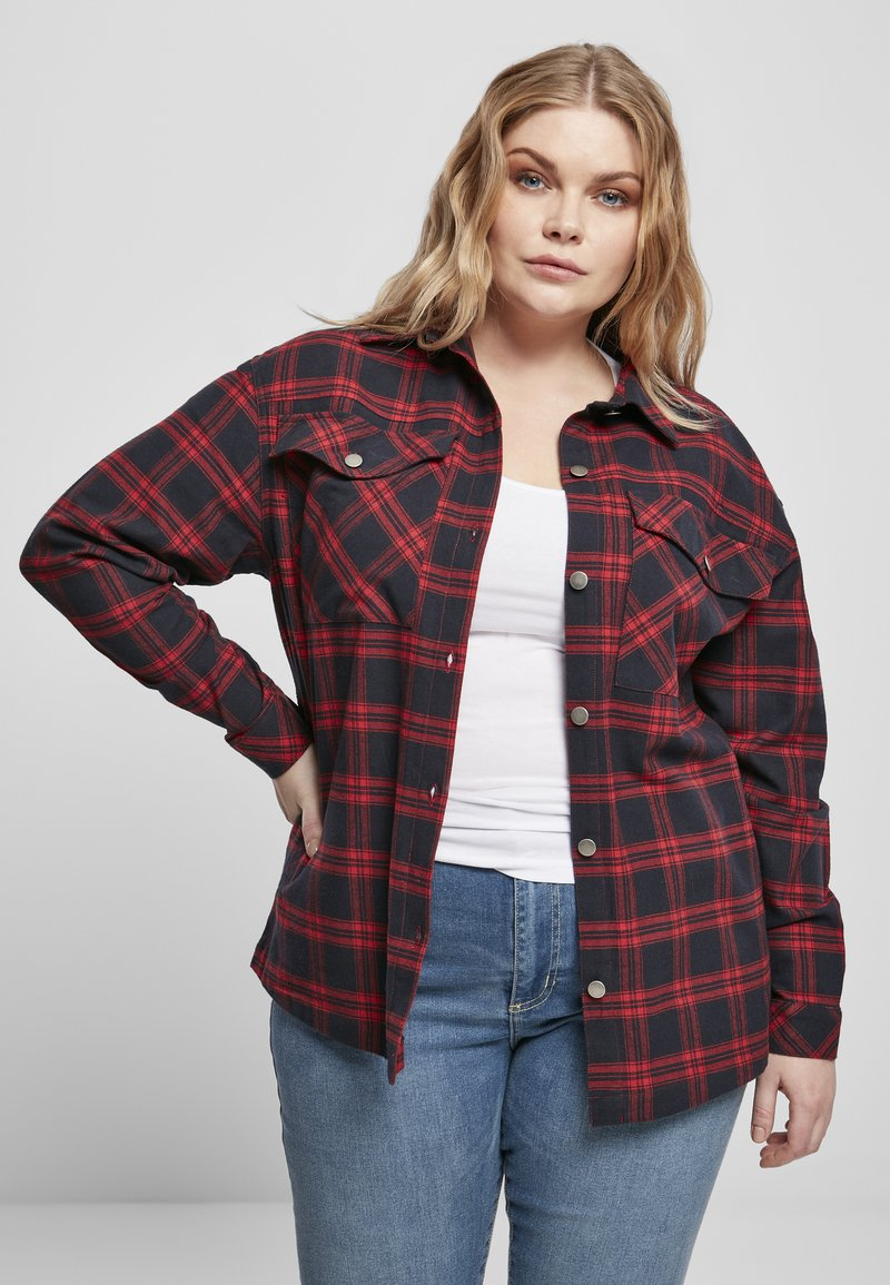 Urban Classics - OVERSIZED  - Button-down blouse - midnightnavy/red
