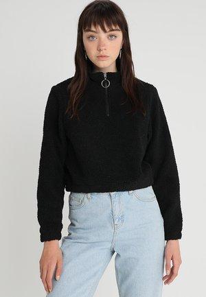 LADIES SHORT SHERPA TROYER - Fleece jumper - black