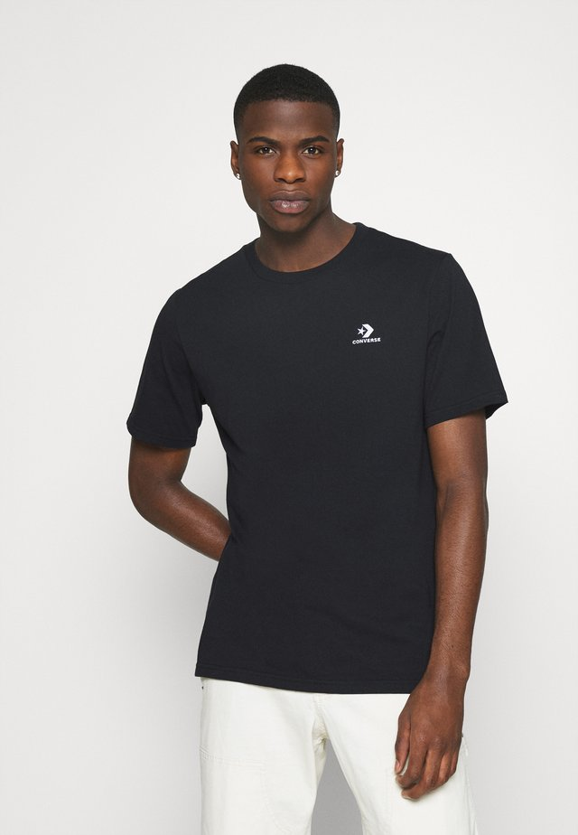 EMBROIDERED STAR LEFT CHEST TEE - Basic T-shirt - converse black