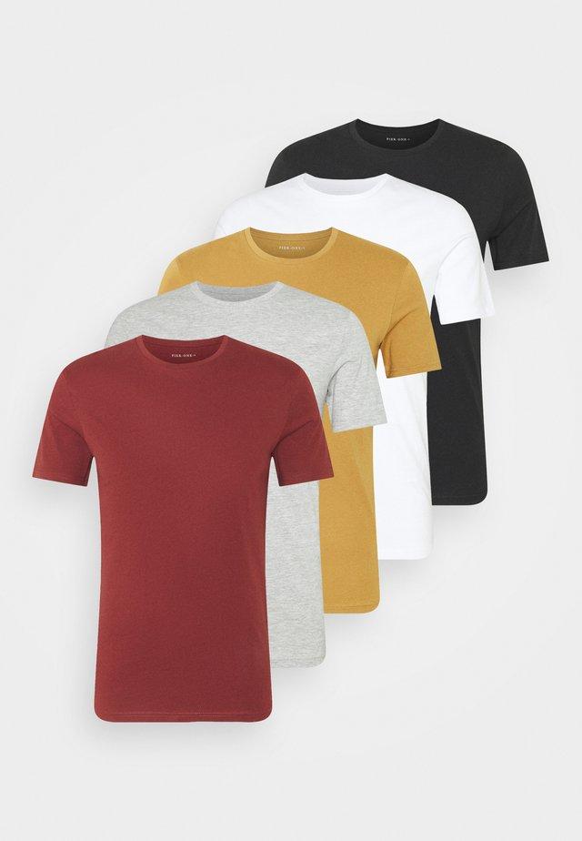 5 PACK - T-shirt basique - brown/white/black