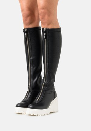 CURV - Wedge boots - black/offwhite