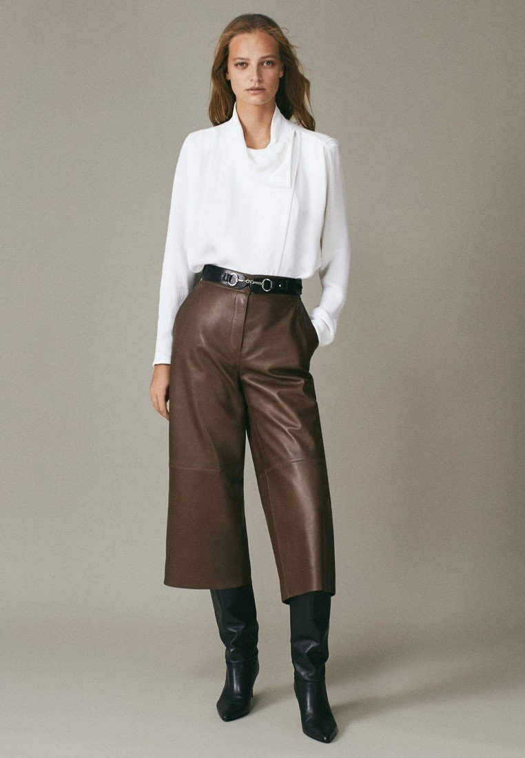 Massimo Dutti - Leather trousers - brown