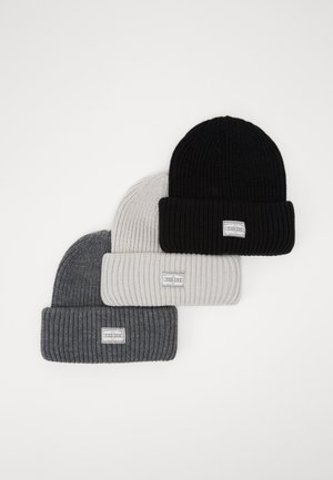 3 PACK - Czapka - offwhite/dark grey/black