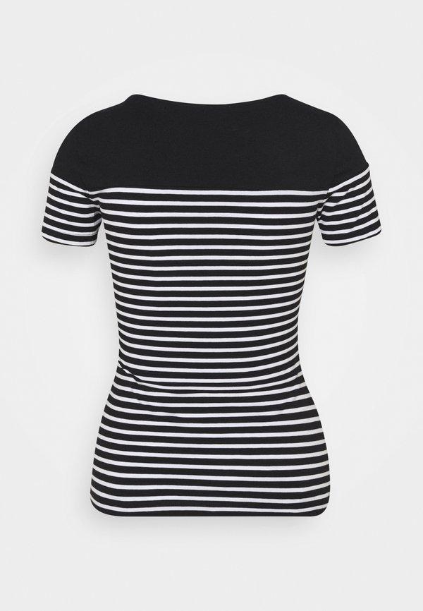 Anna Field T-shirt z nadrukiem - black/white W paski Odzież Damska EPUG BL 4