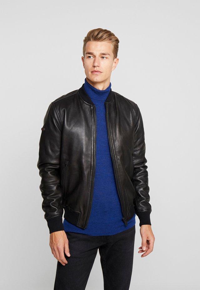 LEATHER FLIGHT BOMBER - Leather jacket - black