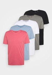 JJEORGANIC BASIC TEE O-NECK 5 PACK - T-shirt - bas - black, white, green