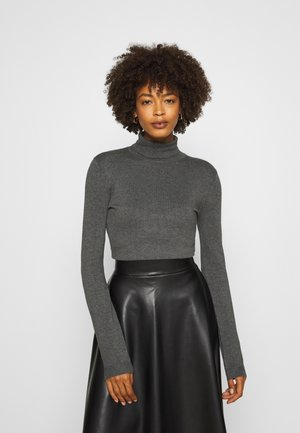 BASIC- TURTLE NECK - Strikkegenser - dark grey