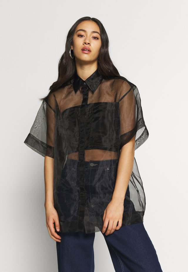 SHEER BOXY - Button-down blouse - black
