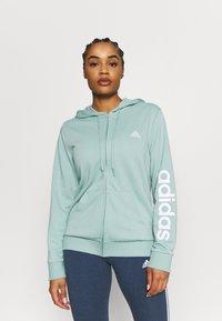 adidas Performance - veste en sweat zippée - haze green/white - 0