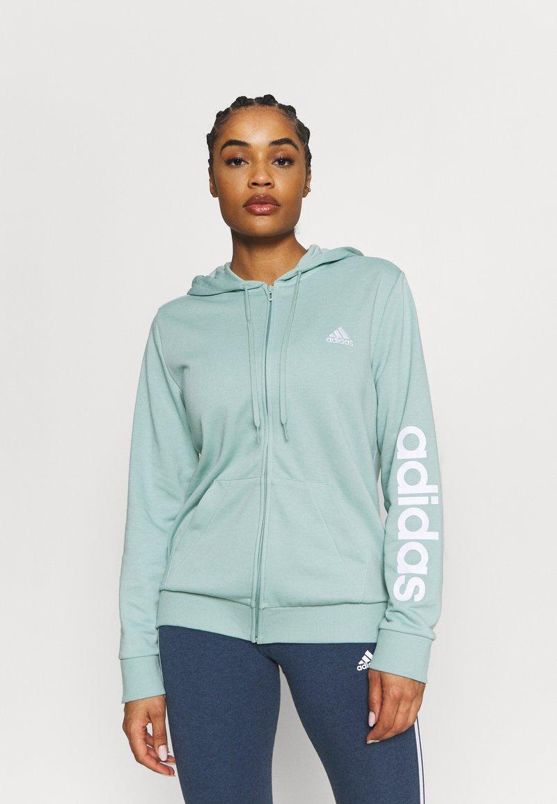 adidas Performance - veste en sweat zippée - haze green/white
