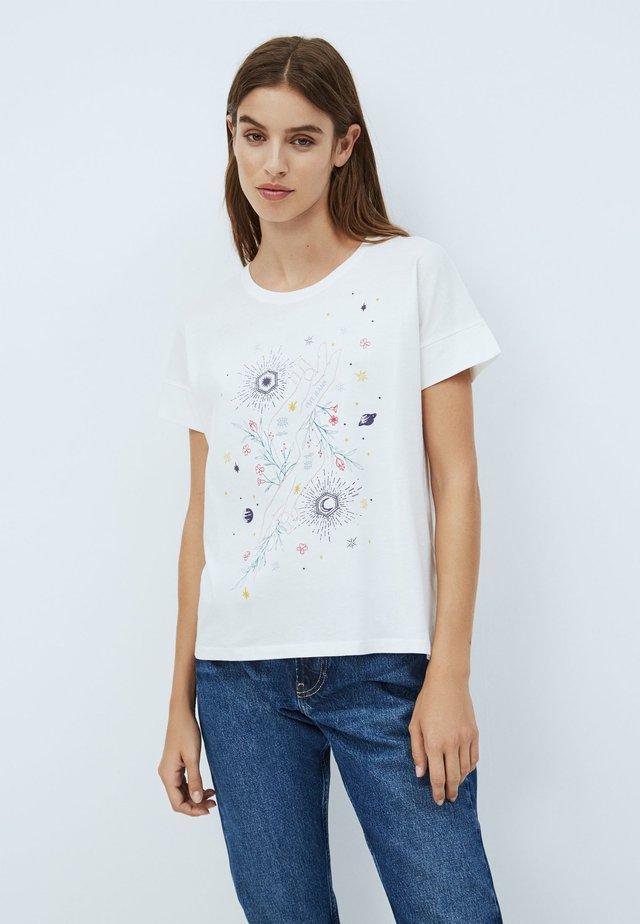ALANIS - T-shirt z nadrukiem - white