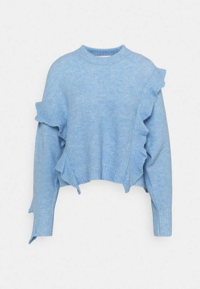 LOFTY CROPPED RUFFLE - Strickpullover - blue