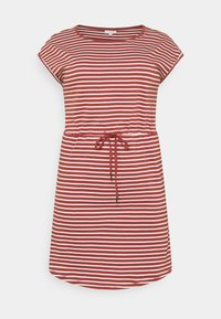 ONLY Carmakoma - CARAPRIL KNEE DRESS STRIPE - Jersey dress - apple butter/cloud dancer - 0