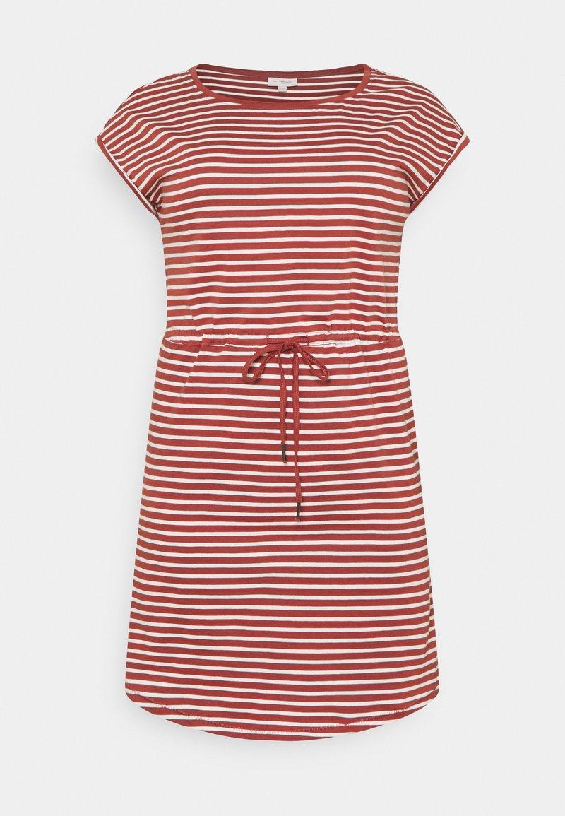 ONLY Carmakoma - CARAPRIL KNEE DRESS STRIPE - Jersey dress - apple butter/cloud dancer