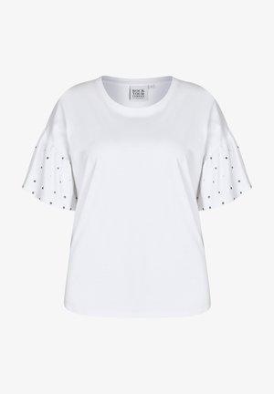 T-SHIRT MIT VOLANTÄRMELN - Blouse - white