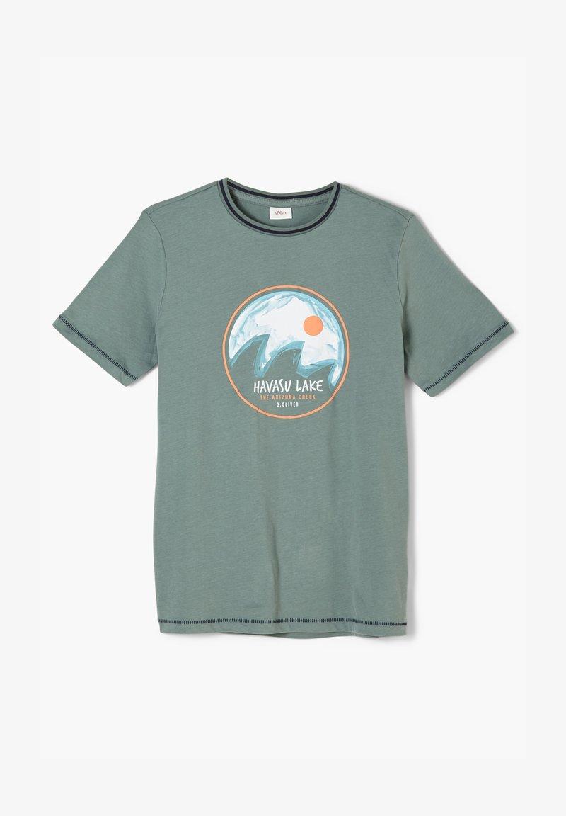 s.Oliver - MIT KONTRAST DETAILS - Print T-shirt - petrol