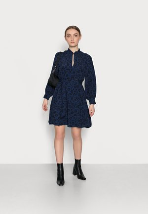 BOW NECK DROP WAIST - Day dress - blue animal