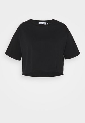 RAW HEM CROPPED OVERSIZED - Basic T-shirt - black