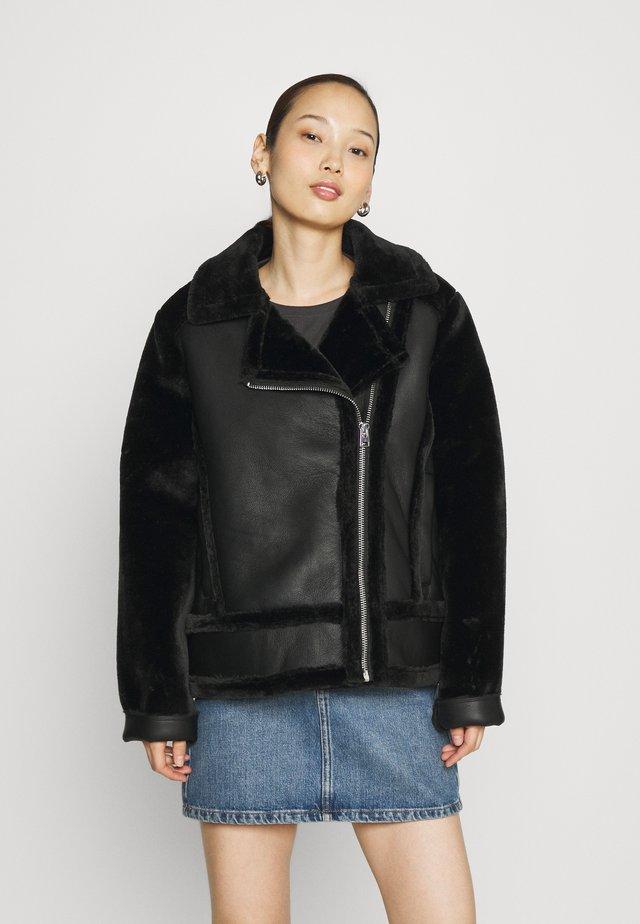 MIX BIKER - Imitatieleren jas - black