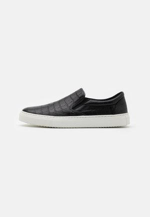 LEATHER UNISEX - Slip-ons - black