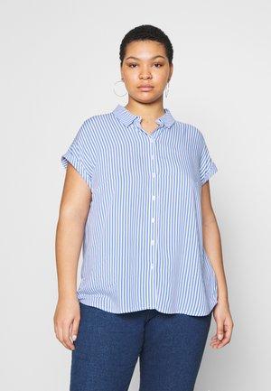 SHORT DROP SLEEVE  - Button-down blouse - vertical blue