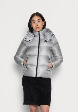 SHINY SHORT PUFFER JACKET - Winter jacket - marble grey