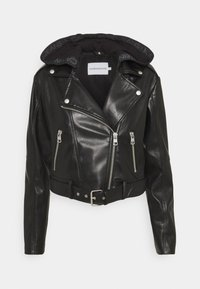 Calvin Klein Jeans - BIKER HOODED JACKET - Faux leather jacket - black - 0
