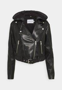BIKER HOODED JACKET - Faux leather jacket - black