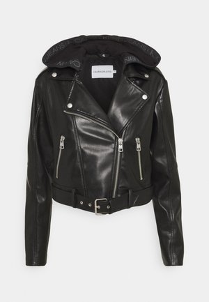 BIKER HOODED JACKET - Imitatieleren jas - black