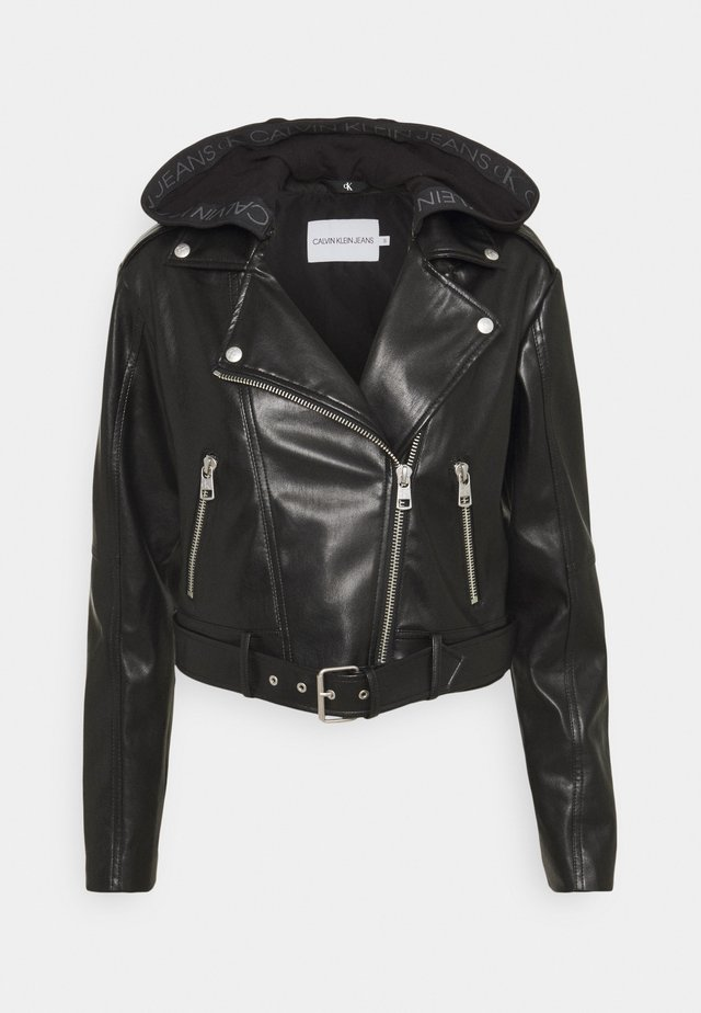 BIKER HOODED JACKET - Faux leather jacket - black