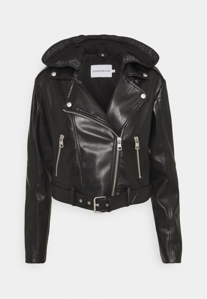 Calvin Klein Jeans - BIKER HOODED JACKET - Faux leather jacket - black