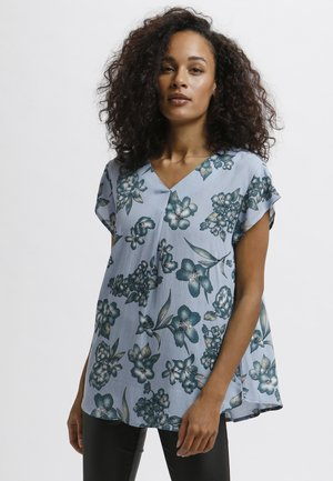 Blouse - blue - big flower print