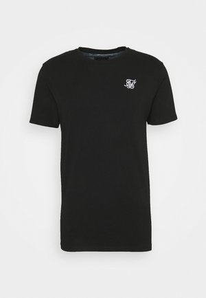 SPACE DYE ROLL SLEEVE TEE - Jednoduché triko - black/grey