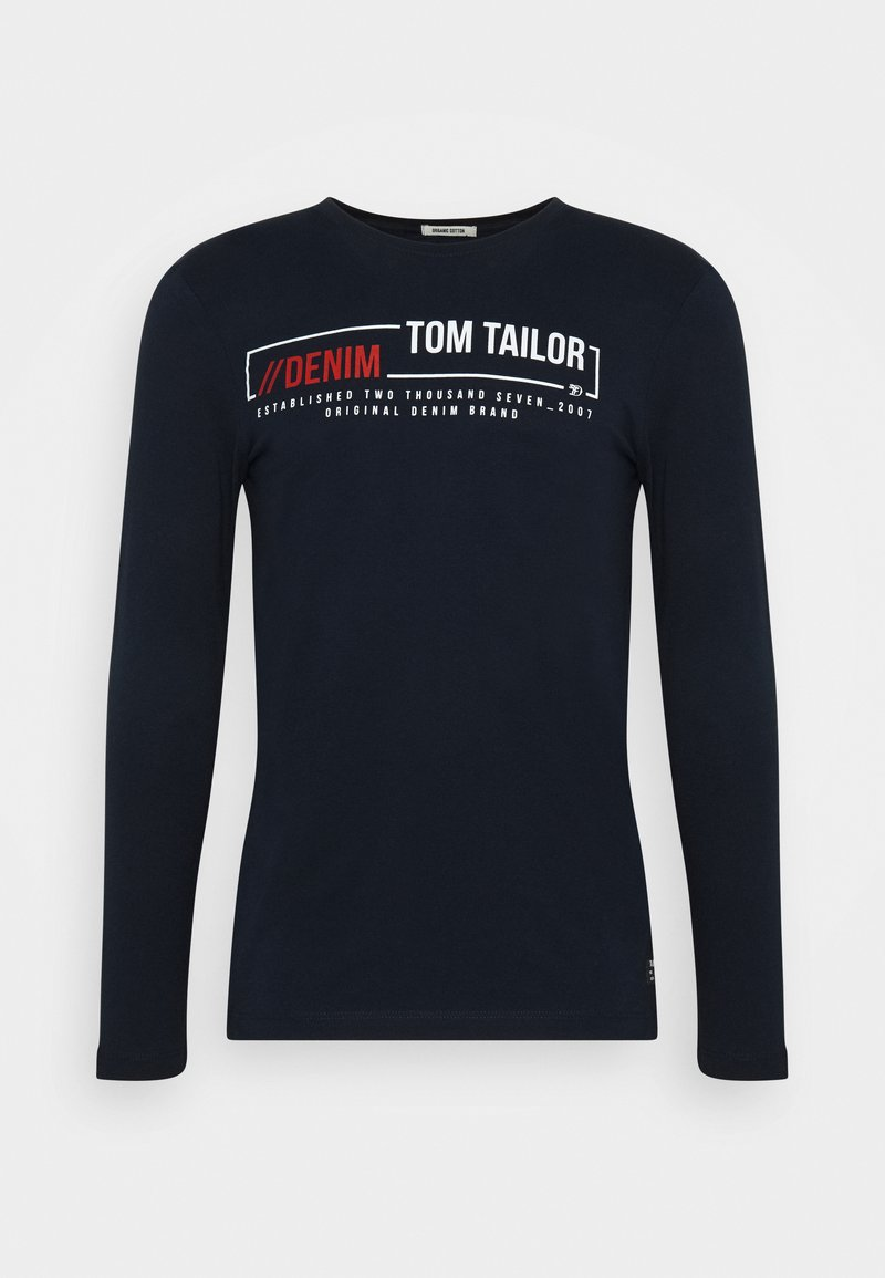 TOM TAILOR DENIM LONGSLEEVE WITH CHEST PRINT - Langarmshirt - sky captain blue/dunkelblau DzXgVU
