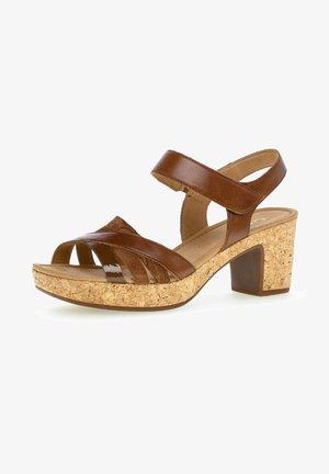 Platform sandals - pean/n.whisky(kork