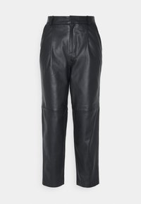 Object - OBJMIA ANKLE PANT - Leather trousers - black - 0
