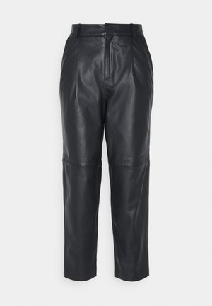 OBJMIA ANKLE PANT - Leather trousers - black