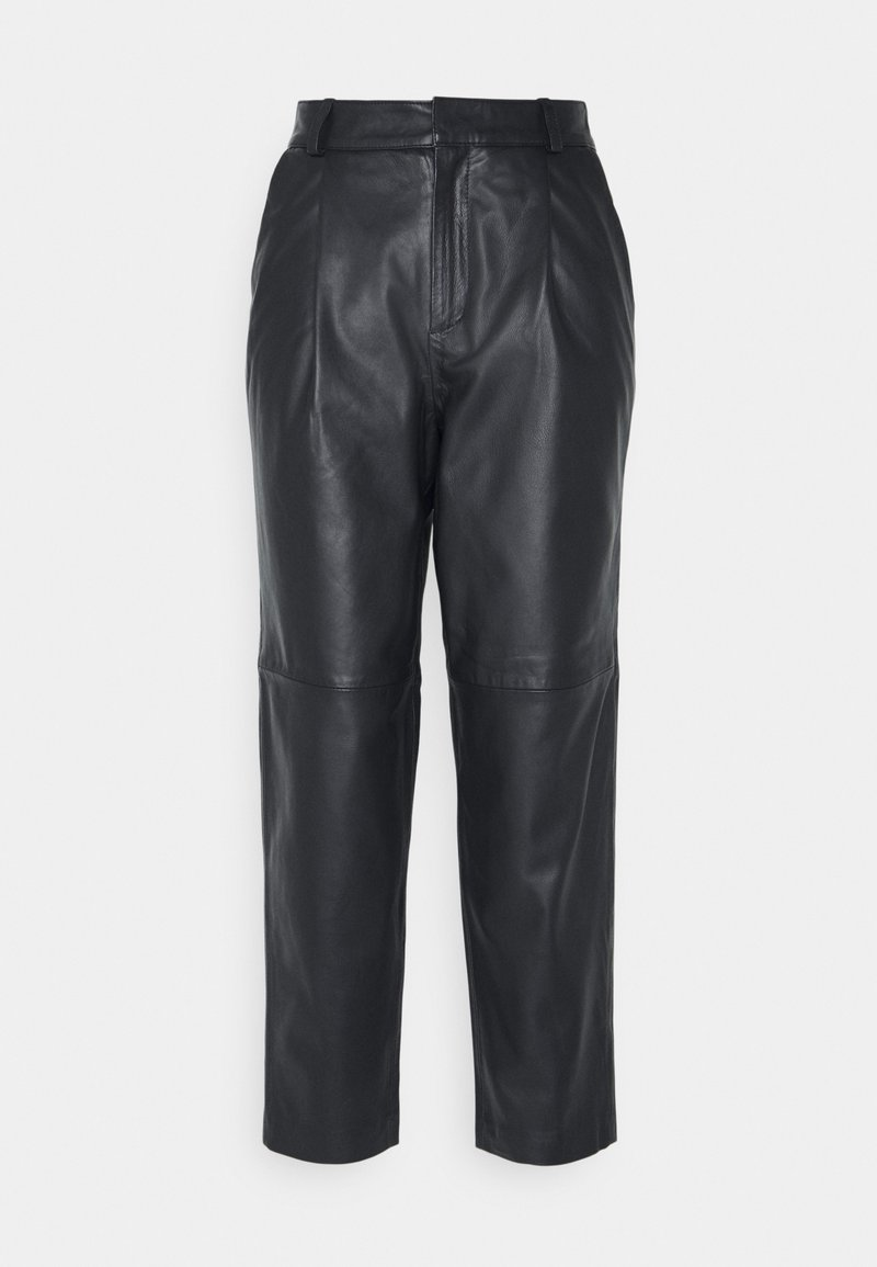 Object - OBJMIA ANKLE PANT - Leather trousers - black