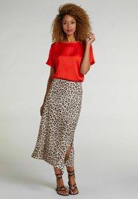 Oui - A-line skirt - light grey camel - 1