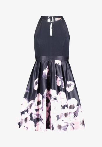 MIT BLUMENPRINT - Cocktail dress / Party dress - dark blue-rosé