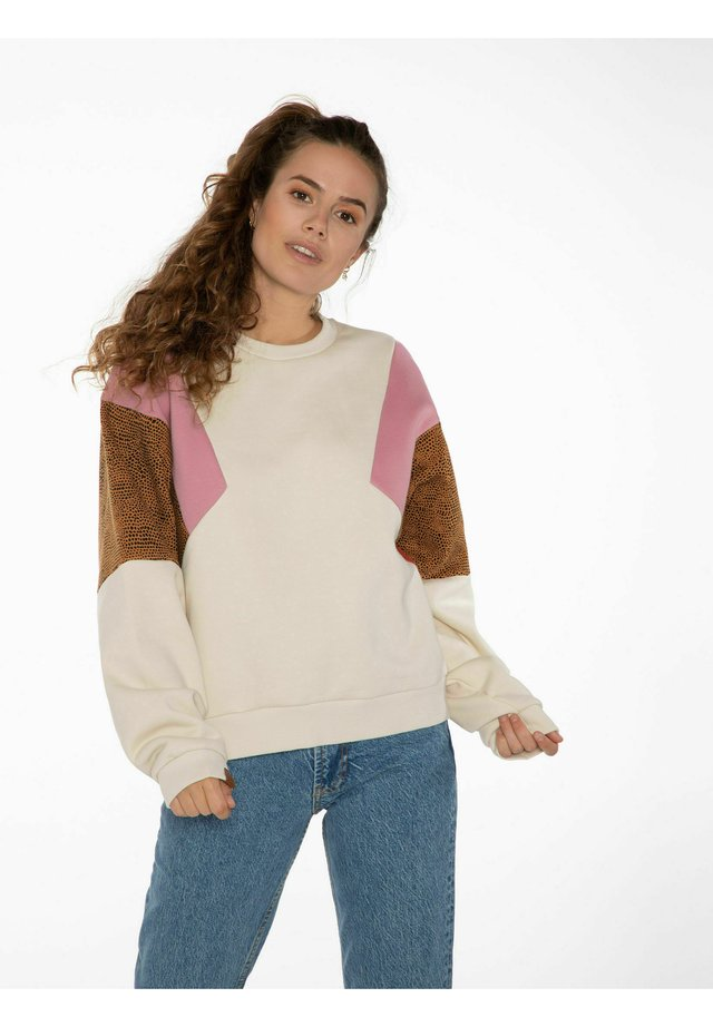 Sweatshirt - off white pink