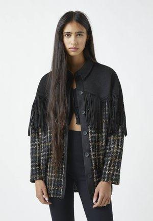 Button-down blouse - mottled black