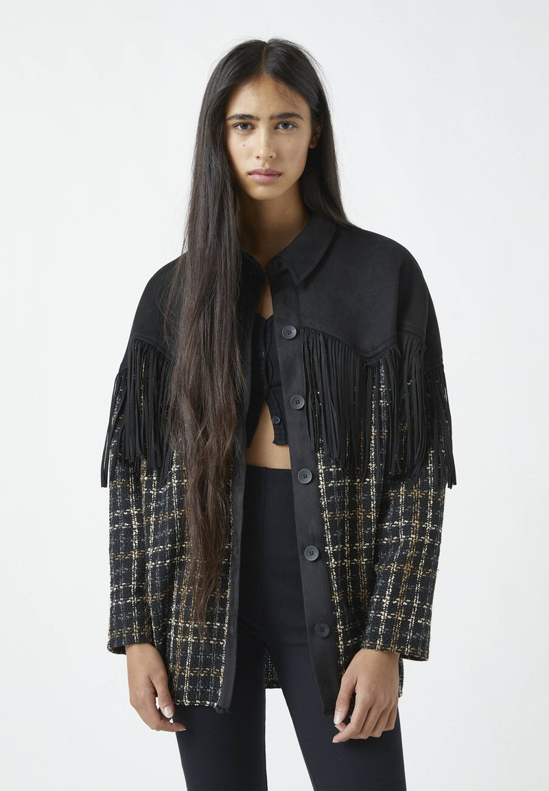PULL&BEAR - Button-down blouse - mottled black